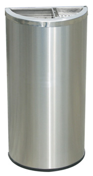Compact Stainless Steel Semi Circle Trash Can with Ashtray - Model #: DC629SS