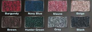 Carpet Color Options:  Burgundy, Navy Blue, Mauve, Beige, Brown, Hunter Green, Gray & Black