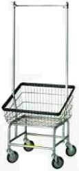 Front Loading Wire Laundry Cart with Hanging Bar