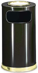Black Waste Receptacle with Ashtray - UNR16SU10B
