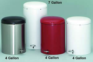 Metal Step-On Waste Receptacles / Trash Cans